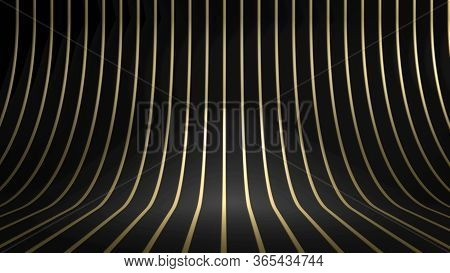 3d Render Of Golden Curved Stripes Or Lines Over Black Background. Perfect Illustration For Placing