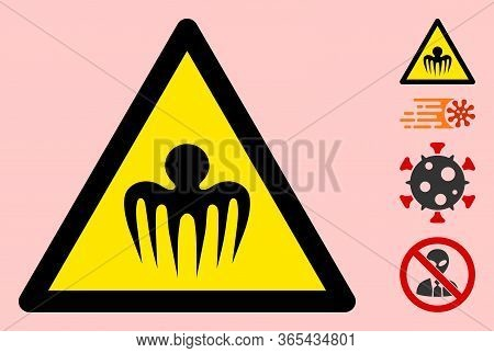 Vector Terrible Octopus Flat Warning Sign. Triangle Icon Uses Black And Yellow Colors. Symbol Style