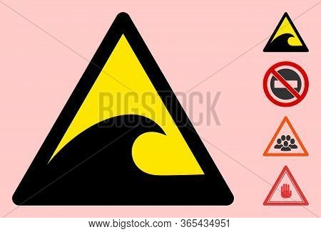 Vector Tsunami Flat Warning Sign. Triangle Icon Uses Black And Yellow Colors. Symbol Style Is A Flat