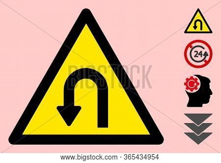 Vector U Turn Flat Warning Sign. Triangle Icon Uses Black And Yellow Colors. Symbol Style Is A Flat