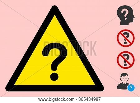 Vector Unknown Flat Warning Sign. Triangle Icon Uses Black And Yellow Colors. Symbol Style Is A Flat