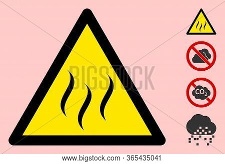 Vector Vapour Flat Warning Sign. Triangle Icon Uses Black And Yellow Colors. Symbol Style Is A Flat