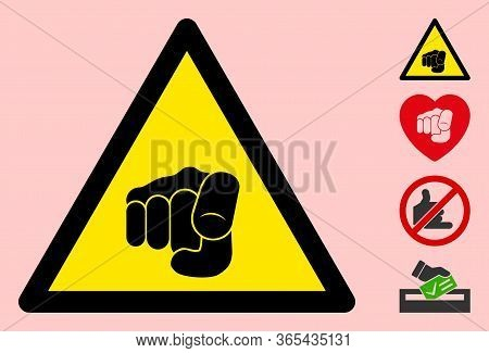 Vector Want You Finger Flat Warning Sign. Triangle Icon Uses Black And Yellow Colors. Symbol Style I