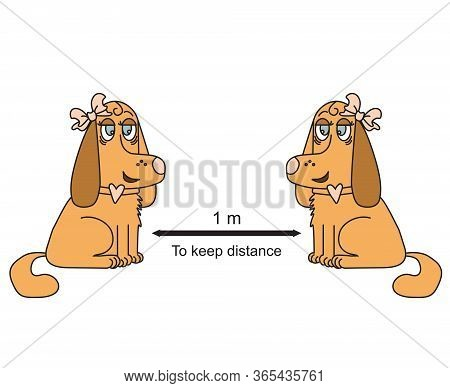 Keep A Remote Sign With Brown Dogs With Bows. She And She. Coronovirus Epidemiological Protection. W
