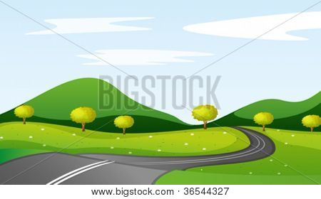 illustration of a landcape in a beautiful nature