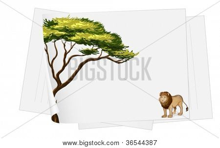 illustration of a paper sheets and lion drawing on white