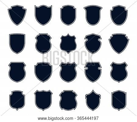 Police Badges Set. Military Signs, Various Shield Shapes, Football Club Emblems. Can Be Used For Ins