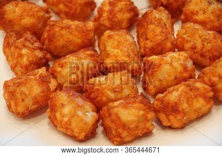 Fried Crispy Tator Tots On A White Plate