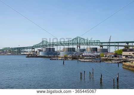 Maurice J. Tobin Memorial Bridge Aka Tobin Bridge Is A Cantilever Truss Bridge Spans On Mystic River
