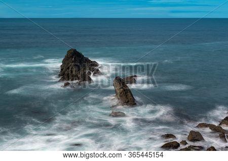 Long Exposure Of Three Rocks, Headlands State Park, Medocino County,  Northern California; Usa, Blue