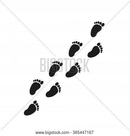 Footprints. Vector Illustration Of Bare Footprints. Footprint Symbol.