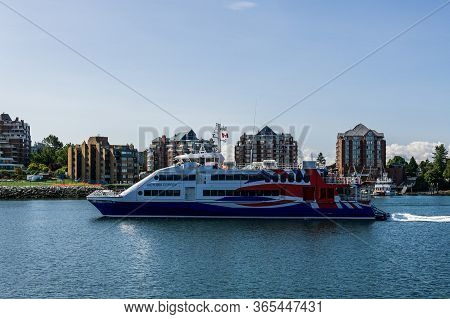 Victoria, Canada - July 14, 2019: New High Speed Luxury Passenger Ferry Arriving To Victoria Harbour