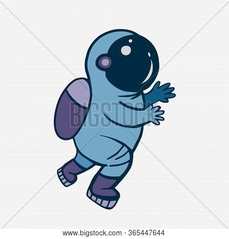 Cosmonaut. Vector Color Illustration Of An Astronaut. Doodle Style Drawing. Man In Space