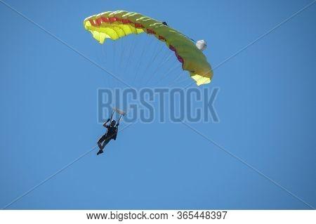 Coimbra, Portugal - Circa June 2015: Parachuting Near The City Centre