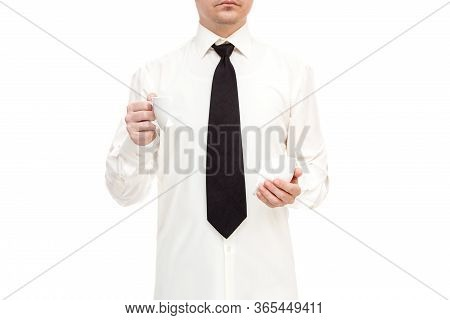 Faceless Businessman In Shirt With Tie Calmly Holding Shards Of Broken Cup And Drink Coffee Collapse