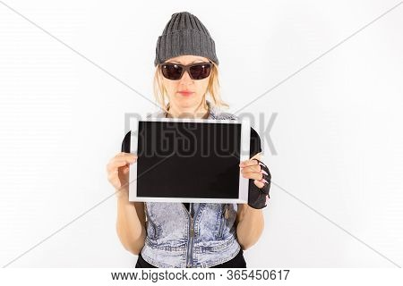 Tough Woman With A Signboard And Copy Space, Isolated On White. Girl Advertising Your Product On A B