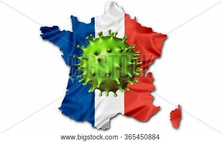 Covid-19 Outbreak Or New Coronavirus, 2019-ncov, Green Virus Above French Flag Map. Covid 19-ncp Vir