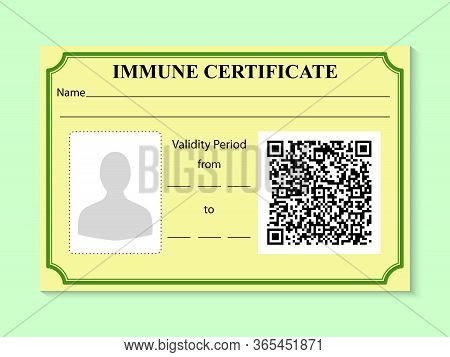 Immune Certificate In Form Of Card With A Sample Qr Code. Negative Result For Coronavirus. Working I