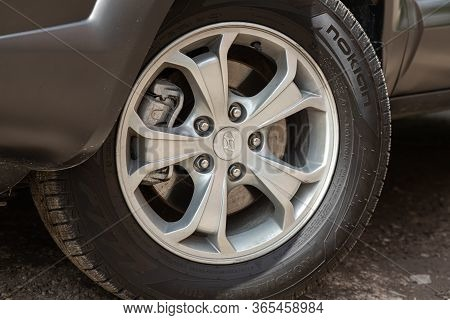 Novosibirsk/ Russia - May 02 2020: Hyundai Tucson, Car Wheel With Alloy Wheel And New Rubber On A Ca
