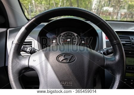 Novosibirsk/ Russia - May 02 2020: Hyundai Tucson, Prestige Car Interior With Dashboard, Steering Wh