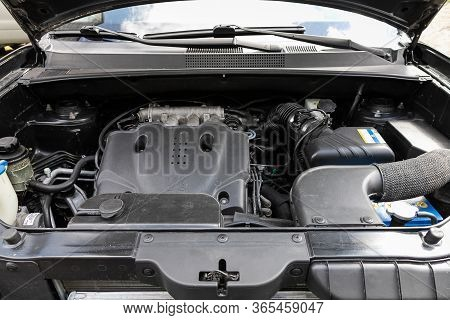 Novosibirsk/ Russia - May 02 2020: Hyundai Tucson, Close Up Detail Of  Car Engine, Front View. Inter