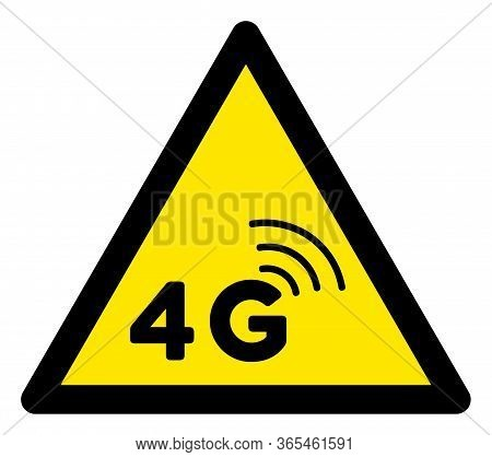 Raster 4g Network Flat Warning Sign. Triangle Icon Uses Black And Yellow Colors. Symbol Style Is A F