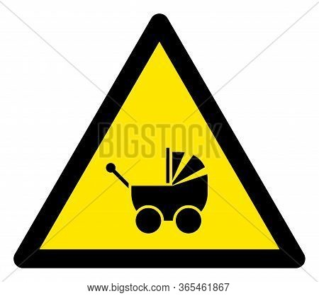 Raster Baby Carriage Flat Warning Sign. Triangle Icon Uses Black And Yellow Colors. Symbol Style Is