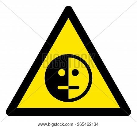 Raster Bipolar Disorder Flat Warning Sign. Triangle Icon Uses Black And Yellow Colors. Symbol Style