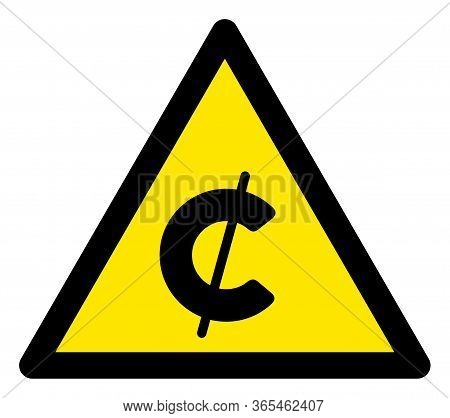 Raster Cent Flat Warning Sign. Triangle Icon Uses Black And Yellow Colors. Symbol Style Is A Flat Ce