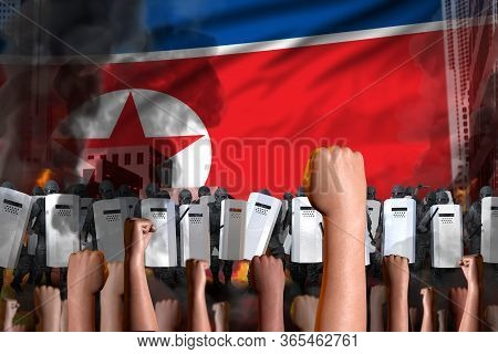 Protest In North Korea - Police Guards Stand Against The Demonstrators Crowd On Flag Background, Dem