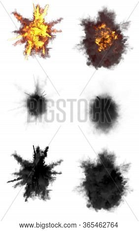 6 Round Explosions Of Missile Interception Blast Or Anti Aircraft Gun Shell Hit Or View From Top On