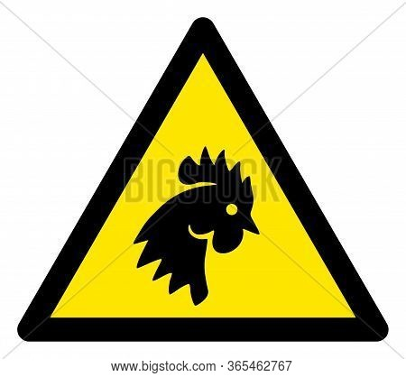 Raster Cock Flat Warning Sign. Triangle Icon Uses Black And Yellow Colors. Symbol Style Is A Flat Co