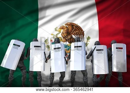 Mexico Police Special Forces Protecting Government Against Revolt - Protest Stopping Concept, Milita