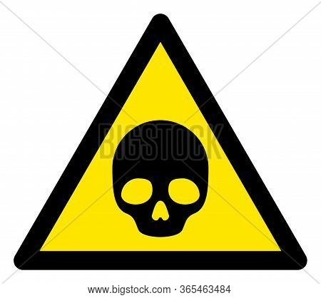 Raster Deadly Flat Warning Sign. Triangle Icon Uses Black And Yellow Colors. Symbol Style Is A Flat