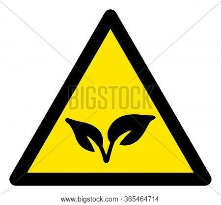 Raster Flora Plant Flat Warning Sign. Triangle Icon Uses Black And Yellow Colors. Symbol Style Is A