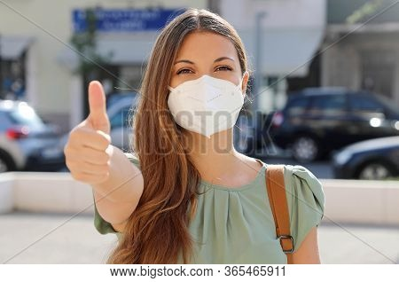 Covid-19 Positive Young Woman Wearing Protective Mask Kn95 Ffp2 Avoiding Coronavirus Disease 2019 Sh