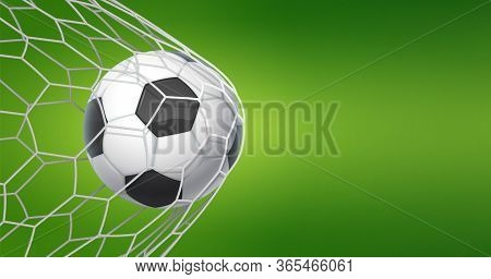 Football Goal Background. Soccer Banner With Ball In Net And Place For Text, Sport Game And Football