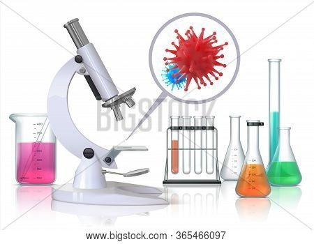 Virus Under Microscope. Realistic Medical Laboratory Equipment And Flu Infection Magnification, Coro