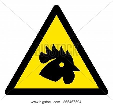 Raster Rooster Flat Warning Sign. Triangle Icon Uses Black And Yellow Colors. Symbol Style Is A Flat
