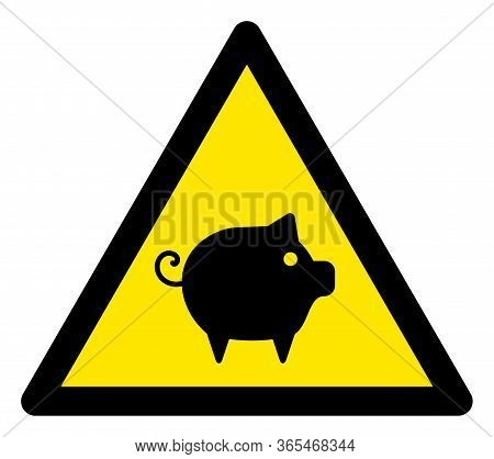 Raster Swine Flat Warning Sign. Triangle Icon Uses Black And Yellow Colors. Symbol Style Is A Flat S