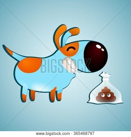 Funny Cartoon Dog And Cute Emotion Poo In Plastic Bag. Clean Up After Your Animal