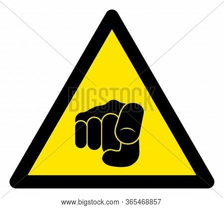 Raster Want You Finger Flat Warning Sign. Triangle Icon Uses Black And Yellow Colors. Symbol Style I