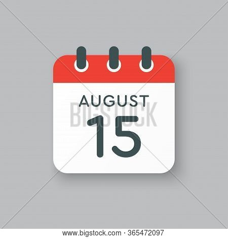 Calendar Icon Day 15 August, Date Days Of The Year