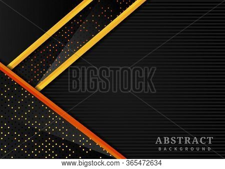 Abstract Triangle Geometric Overlap Layer With Glitter And  Glowing Dots On Black Background Modern