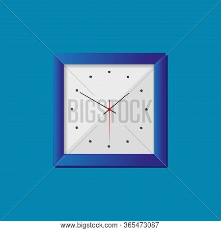 Simple Realistic Clock In Squre Blue Frame On Blue Background. Watch On The Wall. Vector Illustratio