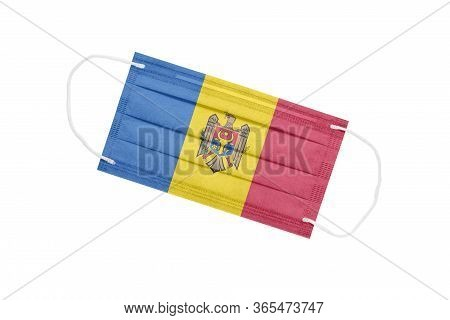 Medical Mask With Flag Of Moldova Isolated On A White Background. Moldova Pandemic Concept. Attribut