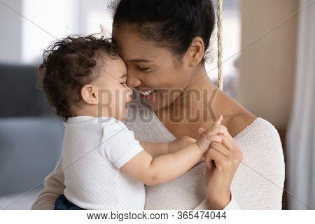 Loving Biracial Mom Hug Cute Little Baby Child
