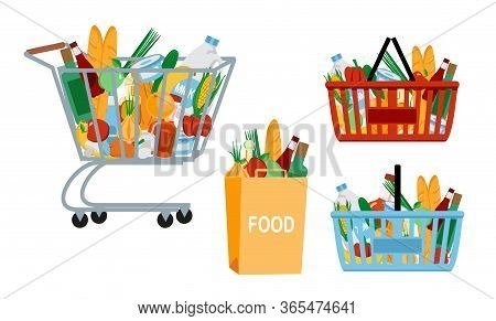 Grocery Food Basket. Eco Shopping Bags And Baskets With Food. Vector Supermarket Illustration. Super