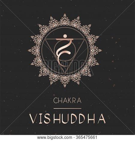 Vector Illustration With Gold Symbol Chakra Vishuddha - Throat Chakra On Dark Background. Round Mand