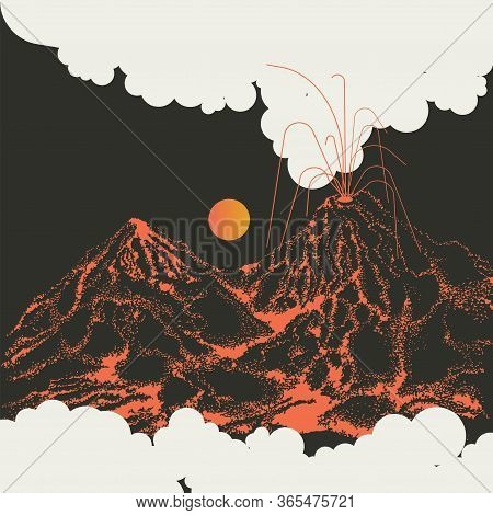 The Eruption Of The Volcano Illustration. The Volcano Is Burning. Natural Disaster